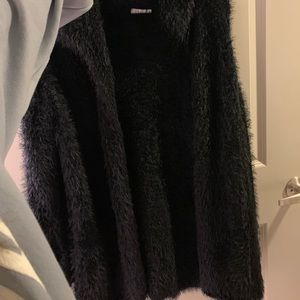 Fuzzy furry black jacket/cardigan